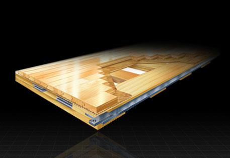 Quicklock portable hardwood arena flooring by Connor Sports