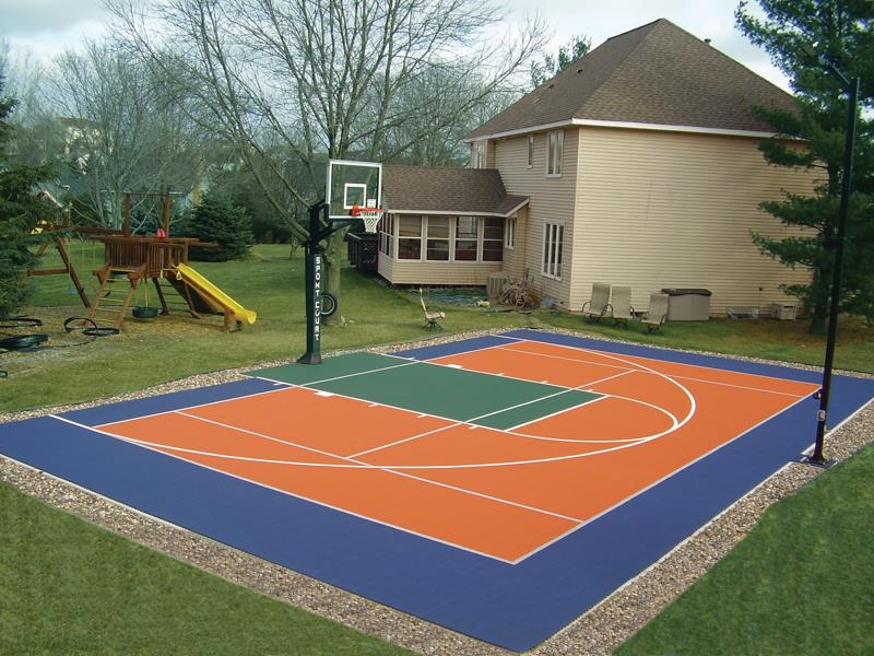 Backyard courts gallery sport court for Custom basketball court cost