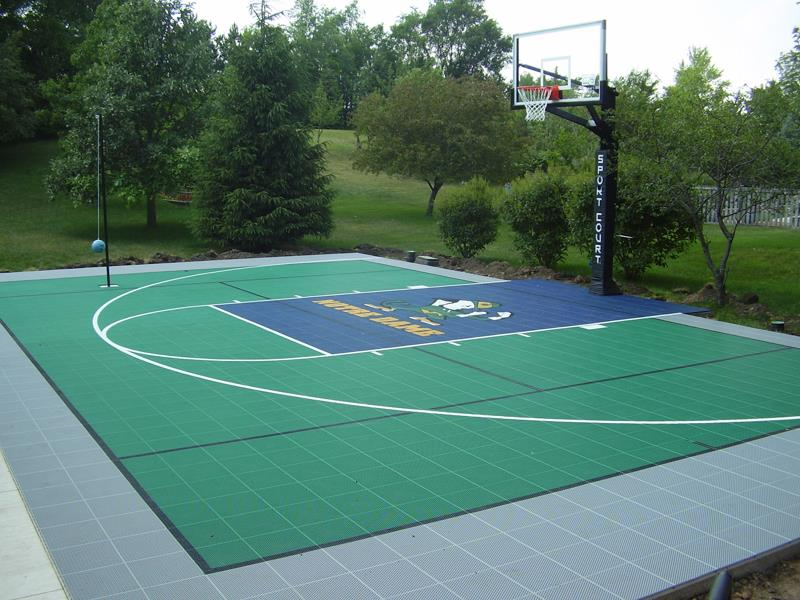 Backyard courts home gyms sport court of st louis for Custom indoor basketball court