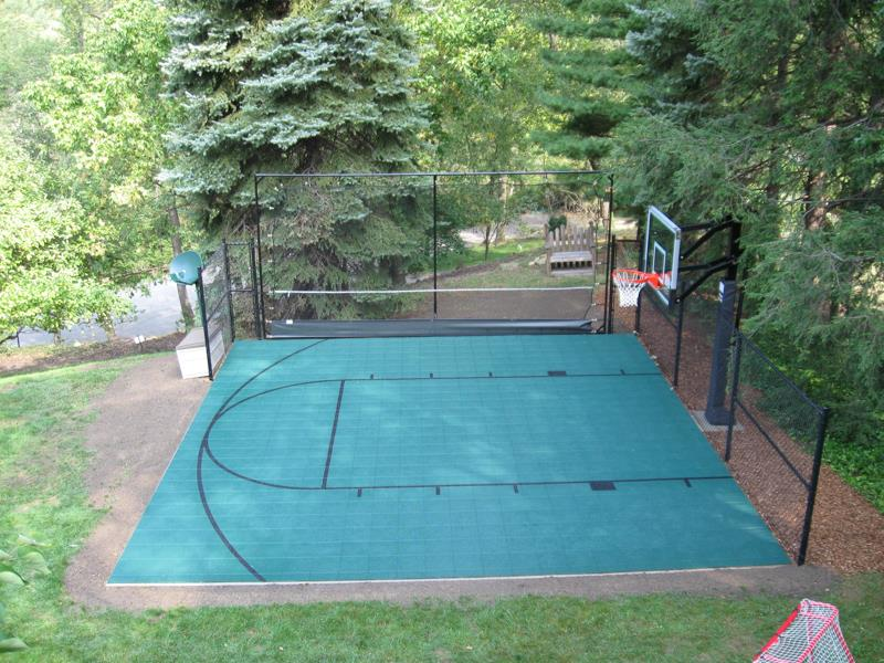 Family sport courts convenient backyard courts for Home basketball court size