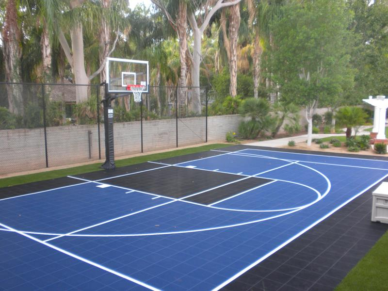 Family sport courts convenient backyard courts sport for Custom basketball court cost