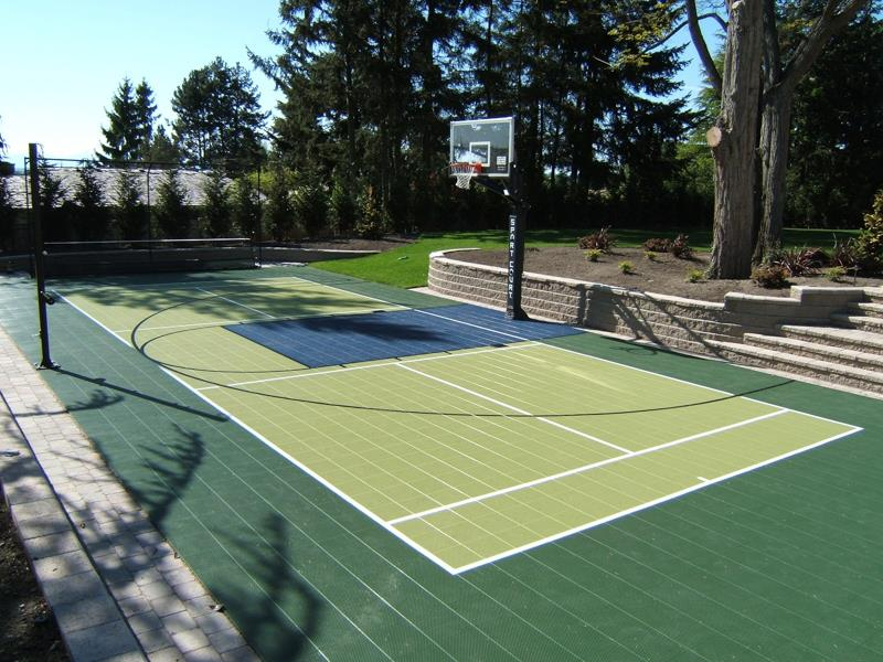 Family sport courts convenient backyard courts sport for How much to build a half court basketball court