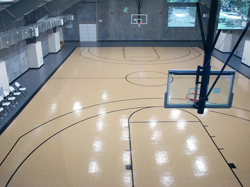Backyard indoor and outdoor basketball courts sport court for Build indoor basketball court