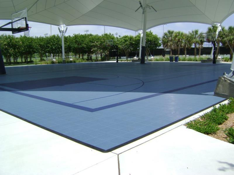 Backyard indoor and outdoor basketball courts sport court for Basketball court cost estimate