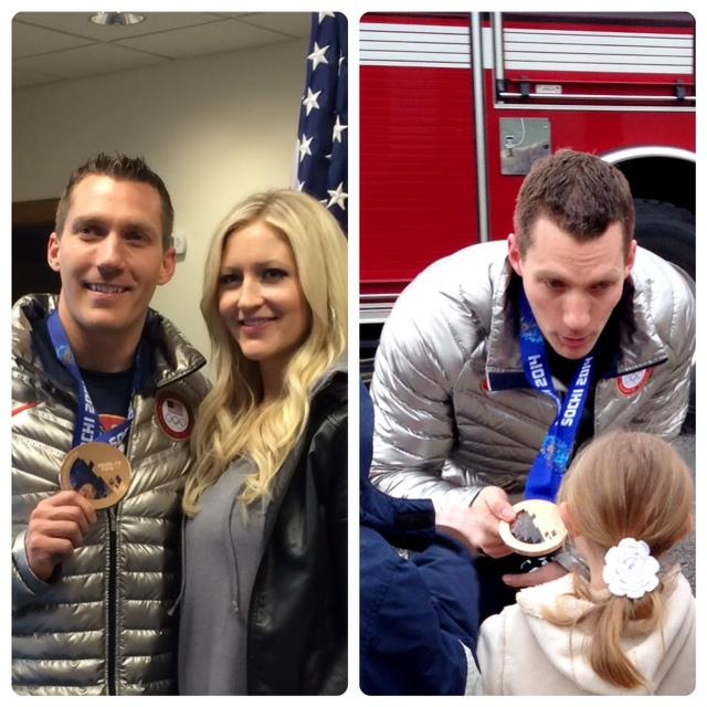 LEFT: Olympic Bronze Medalist Chris Fogt and his wife Rachel RIGHT: Chris Fogt showing medal to children in the parade.