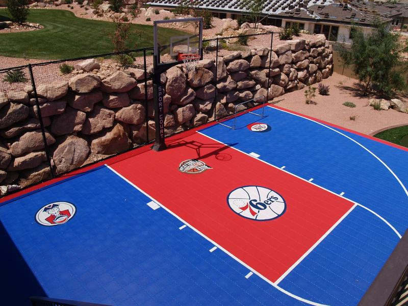 Premium indoor outdoor court surfaces select your surface for Custom basketball court cost